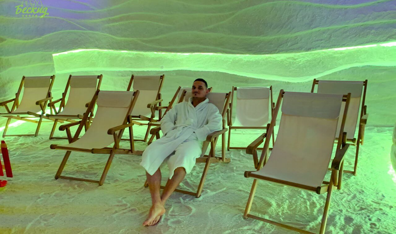 salt cave for halotherapy procedure in the SPA-hotel
